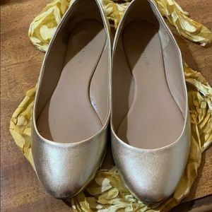 Size 7 gold flats. Ann Taylor.  Gently worn,